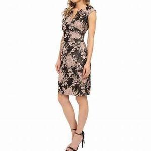 Adrianna Papell Side Pleat Split Neck Dress